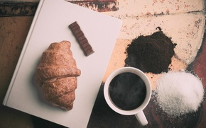 Picture coffee, chocolate, croissant