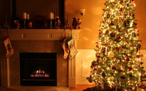 Wallpaper lights, holiday, toys, candles, Room, Christmas, New year, tree, fireplace, twilight, garland, colorful, fabulous, sconce, ...