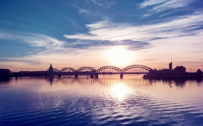 Picture clouds, sunset, bridge, the city, river, ruffle