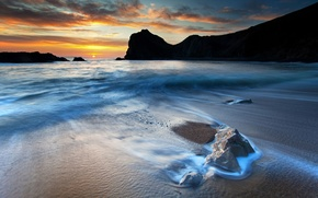 Picture sand, sea, the sky, rock, stones, the ocean, rocks, shore, coast, stone, heaven, sunsets, beautiful ...