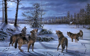 Wallpaper Moonlight Chorus, hut, winter, wolf, painting, wolves, the moon, night, pack, hut, Mary Pettis, forest