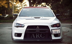 Picture white, before, Mitsubishi, Lancer, evo x, xenon