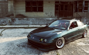 Picture green, turbo, wheels, honda, black, japan, jdm, tuning, acura, integra, type r, type s