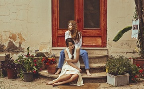 Picture flowers, reverie, house, girls, door, steps, sitting