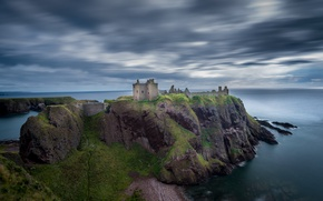 Picture sea, clouds, castle, rocks, fortress, Wallpaper from lolita777