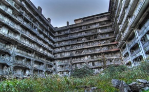 Picture building, abandoned, Hashima Island in Japan