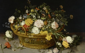 Wallpaper picture, still life, Basket with Flowers, Jan Brueghel the younger