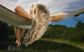 Picture nature, blonde, hammock, dreams