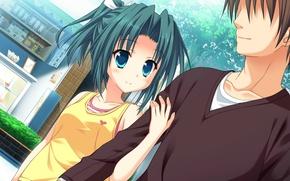 Picture trees, street, walk, blue eyes, two, date, shop, art, visual novel, princess evangile, nao saeki