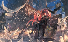 Picture the sky, girl, clouds, birds, the city, weapons, people, home, dog, sword, anime, art, suitcases, …