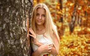 Wallpaper autumn, look, leaves, girl, face, sweetheart, model, portrait, dress, blonde, light, golden, beautiful, nature, young, ...