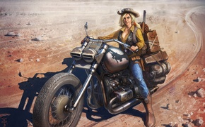 Picture look, girl, hat, boots, art, motorcycle