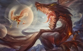 Picture fiction, dragon, wings, art, battle, mouth. angel
