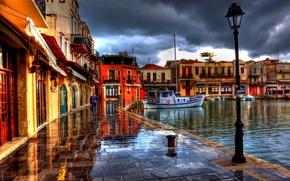 Picture building, boats, Greece, lights, promenade, greece