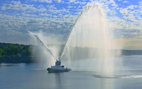 Picture tug, salute, port, fountain, Stockholm, Sweden, Sweden, Stockholm, water cannons