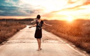Picture road, girl, dance, braids, Alessandro Di Cicco