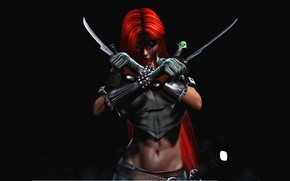 Picture look, fog, weapons, background, green eyes, red hair, vampire, BloodRayne