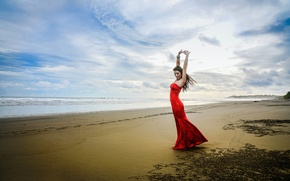 Wallpaper wave, girl, shore, dance, surf, in red, Kimberly