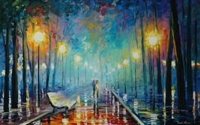 Wallpaper umbrella, light, painting, rain, leaves, pair, shop, Leonid Afremov, lights, autumn