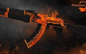 Picture flame, bird, smoke, spark, heat, phoenix, AK-47, paint, workshop, cs go, gunsmith