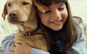 Picture girl, dog, friends, Two