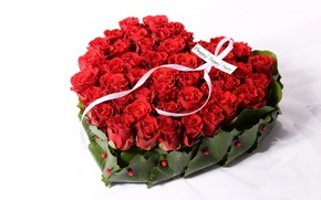 Picture romance, heart, roses, colorful, red, red, beautiful, Roses, holiday, Happy, Valentines Day