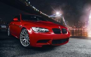 Picture BMW, Orange, Car, Bridge, Sport, River, Competition, Pack