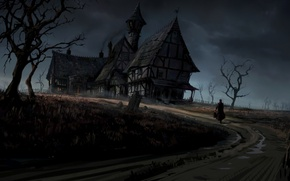 Picture road, field, trees, house, Gothic, people, art