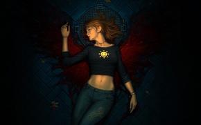 Picture leaves, girl, blood, wings, jeans, pavers, art, cover, bridge, smiley, Luke, lying, arden rey