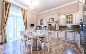 Picture style, table, furniture, Villa, window, kitchen, plate, curtains, luxury, Design, luxury, Interior, Kitchen