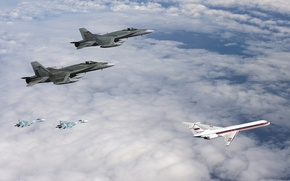 Picture the sky, clouds, fighters, pair, the plane, two, generation, jet, passenger, Su-27, Hornet, The Russian ...