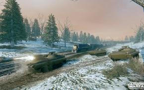 Picture snow, trees, train, BMP-2, armored warfare