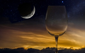 Picture the moon, glass, stars