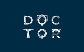 Picture the inscription, Doctor Who, blue background, Doctor Who