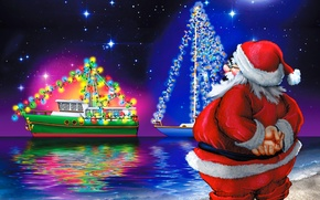 Picture the sky, stars, reflection, shore, yachts, lights, New Year, Happy New Year, Santa Claus