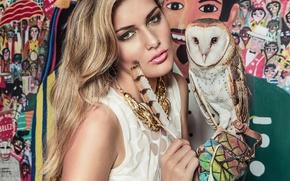 Picture pen, owl, bird, model, necklace, the barn owl, Isadora Vilarim