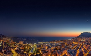 Picture sea, the city, the evening, panorama, Monaco, Yacht Show Sunset 2014