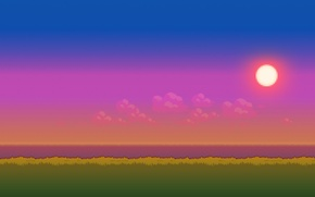 Picture sea, grass, the sun, clouds, time, the evening, day, 8bit