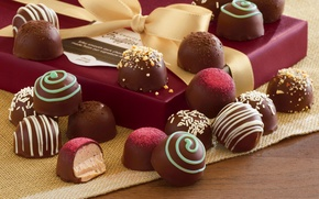Picture chocolate, candy, box, chocolate, gift, candy, ribbon