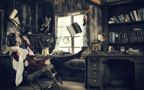 Picture girl, room, magic, books, the situation, Asian