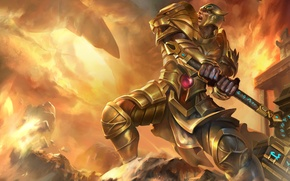 Picture hammer, armor, Heroes of Newerth, Lion of the Gods