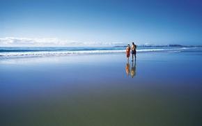 Picture sand, beach, the ocean, walk couple