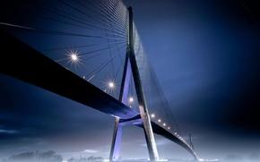 Picture night, bridge, lights, fog