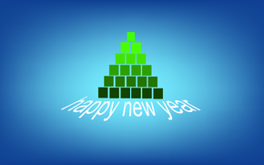 Picture blue, green, cubes, tree, minimalism, happy new year