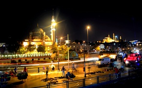 Picture night, Istanbul, Turkey, night, Istanbul, Blue Mosque, the blue mosque