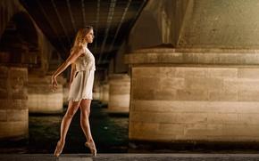 Picture bridge, dance, dress, grace, ballerina, Pointe shoes
