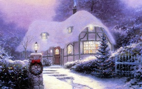 Picture snow, holiday, picture, room, track, lantern, steps, tree, painting, the light in the Windows, Thomas …