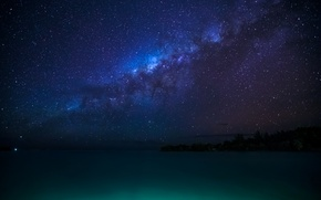 Picture tropics, coast, the milky way, French Polynesia