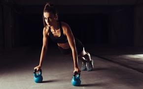 Wallpaper woman, sportswear, pushups