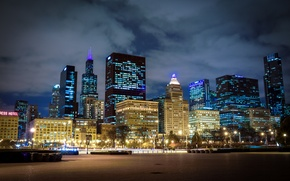Picture Night, Chicago, Skyscrapers, USA, Chicago, skyline, nightscape
